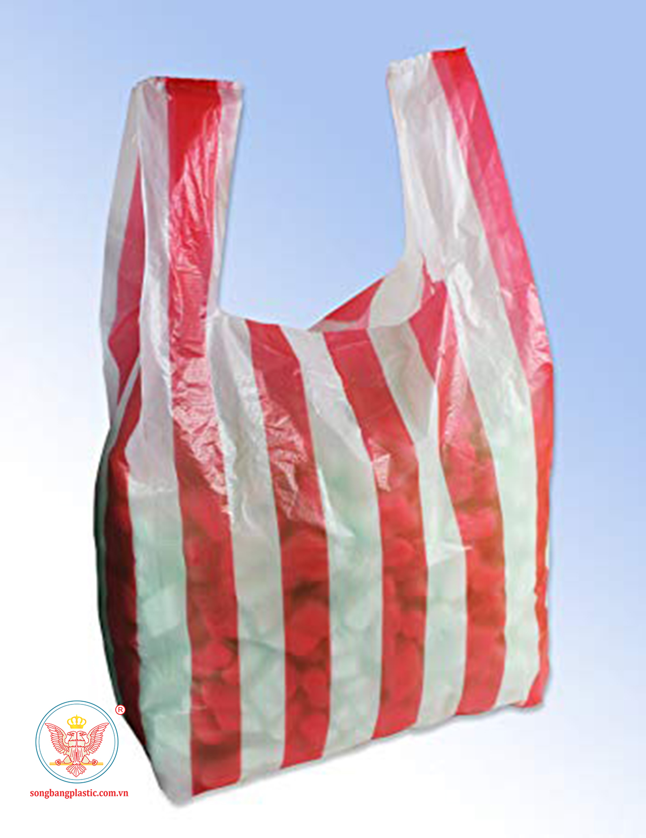 Striped White - Red plastic bags